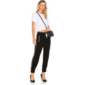 MONROW Elastic Waist Track Pants in Black